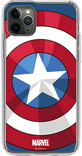 Amazon Com Skinit Clear Phone Case Compatible With Iphone 11 Pro Max Officially Licensed Marvel Disney Captain America Emblem Design Electronics