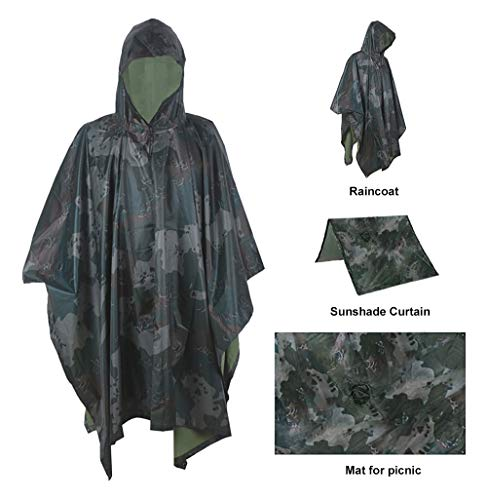 Mens Raincoat Camouflage (Oeak 3-in-1 Rain Poncho Hooded Jacket Waterproof Raincoat with Zipper for Outdoor Activities Unisex Camouflage)