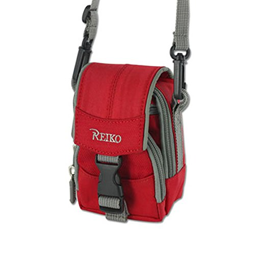 Traveling Case Red with Shoulder Neck Strap, 3 compartments,
