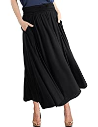 Women's High Waist Fold Over Pocket Shirring Skirt