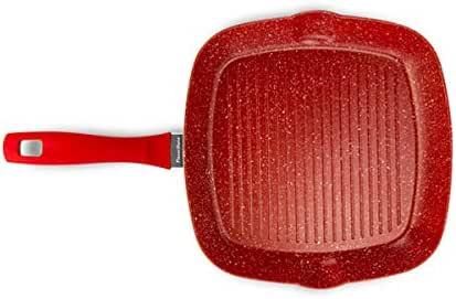 FlavorStone, Sartén Grill para Asar, Accesorio de Cocina, Superficie Libre de PFOA, Fácil Limpieza, Fácil Cocción sin Grasa, Uso Diario, Color Rojo