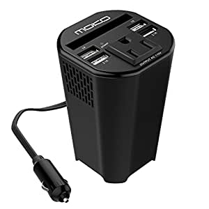 MoKo 150W Car Power Inverter, DC 12V to 110V AC Outlet Cup Holder Converter Adapter, with 4 USB Port Charger, for iPhone X / 8 / 8 Plus, MacBook, iPad Pro, Chromebook, Galaxy S8 and etc. (Black)