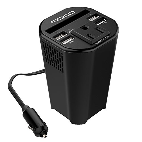 MoKo 150W Car Power Inverter, DC 12V to 110V AC Outlet Cup Holder Converter Adapter, with 4 USB Port Charger, for iPhone X / 8 / 8 Plus, MacBook, iPad Pro, Chromebook, Galaxy S8 and etc. (Battery Adapter Cup)