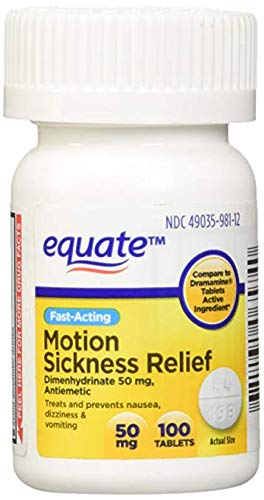 Motion Sickness 50 mg 100 Tablets (Compare to Dramamine) (1) (Premium pack)