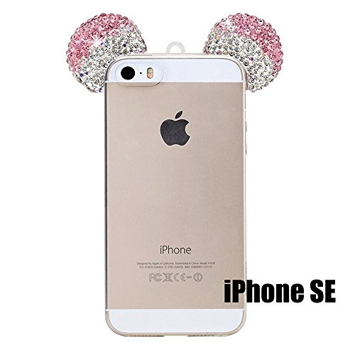 iPhone 5/5S/SE/6/6S/6+/6S PLUS Case, 3D Mickey & Minnie Mouse Crystal Diamond Bling Rhinestone Ears Clear TPU Rubber Silicone Cover with Lanyard & Stylus Pen (iPhone SE)