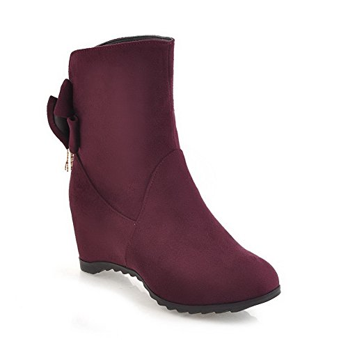 BalaMasa Womens Fashion Pointed-Toe Slip-Resistant Comfort Suede Boots ABL09942 Red MrH0dv