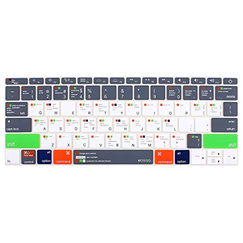 MOSISO Silicone Keyboard Cover Compatible MacBook Pro 13 Inch 2017 & 2016 Release A1708 Without Touch Bar, New MacBook 12 Inch A1534 Protective Skin, Mac OS X Shortcut, Gray