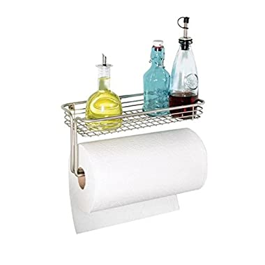 mDesign Paper Towel Holder with Shelf for Kitchen, Laundry, Garage - Wall Mount, Satin