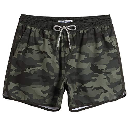 (MaaMgic 80s 90s 4 Way Stretch Mens Swim Trunks Camo Quick Dry Boardshorts Swimwear with Mesh Lining/Pockets)
