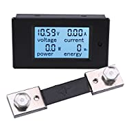 Yeeco LCD Digital Display Voltmeter Ammeter Multimeter DC 6.5-100V 20A Voltage Current Power Energy Meter Tester Monitor with Built-in Shunt