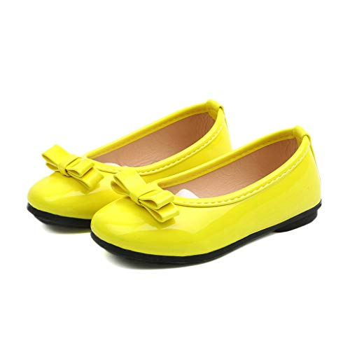 001 Shoes (Tronet Toddler Infant Kids Baby Girls Solid Leather Single Princess Shoes Sandals Princess Dress Shoes Yellow)