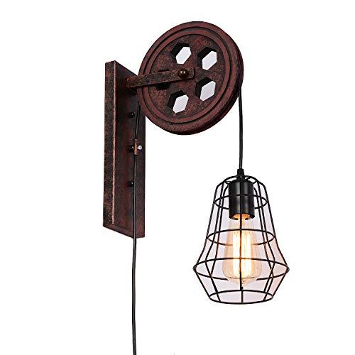 Sconce Standard Wood (SUNWE Industrial Retro Iron Wall Lamp Creative Personality Lift Pulley Wall Lamp (MK-II))