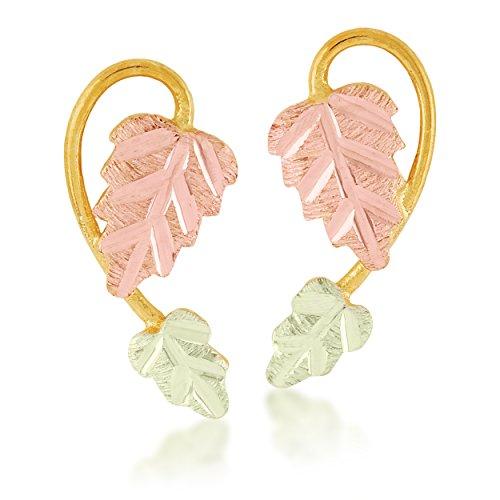 - Black Hills Gold Two-Leaf Earrings