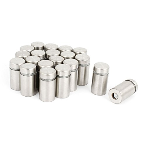 uxcell 20 Pcs Stainless Steel Advertising Nails Glass Wall Connector Standoff 12mmx25mm