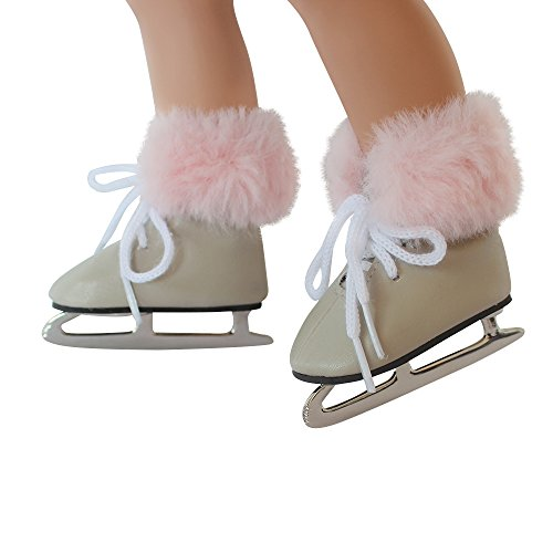 Vinyl Girls Ice Skates - 18 inch Doll Shoes,Doll Fur Trim Ice Skates Skating Leather Shoes Fits 18 Inch American Girl Dolls