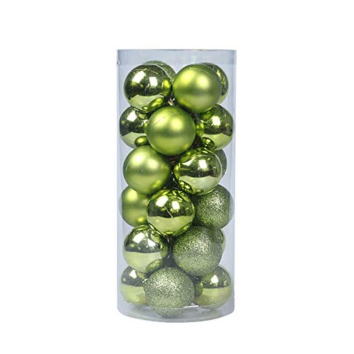 lightclub Glittering Baubles Balls Christmas Tree Ornament Xmas Party Hanging Decoration Green