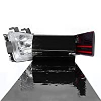 LinkedGo 12 by 48 Inches Self Adhesive Dark Black Headlights or Fog Taillight Tint Vinyl Film