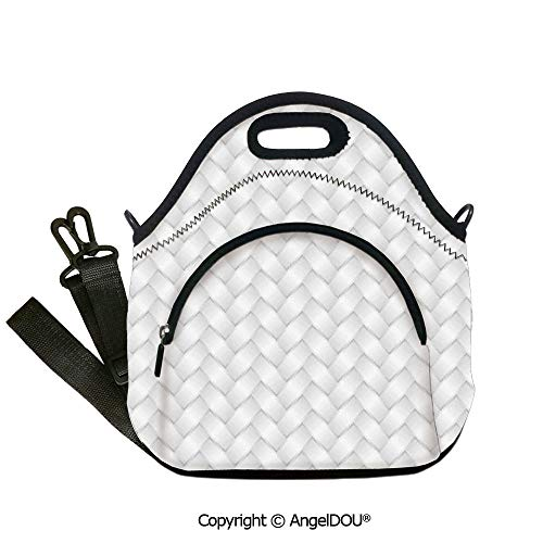 Advantage Pique Knit - AngelDOU Grey lightweight Portable Picnic tote lunch Bags Modern Knit Style Wicker Graphic Artprint Light Simple Linked Patterns Boho City Design Home Decorative insulation cold 12.6x12.6x6.3(inch)