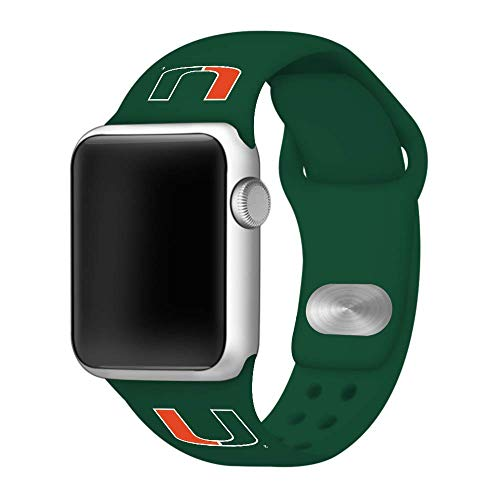 (Affinity Bands Miami Hurricanes Green Silicone Sport Band Compatible with Apple Watch - Band ONLY (42mm/44mm)