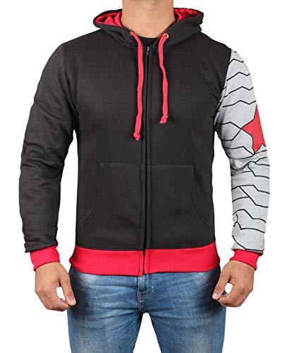 Miracle Mugs Infinity Winter Soldier Costume Hoodie - Adult Zipper Sweatshirt for Men -