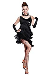 Sequin Fringe Tassel Latin Dance Dress