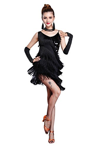 (Z&X Women's Dancewear Sequin Fringe Tassel Latin Dance Dress 5 Pieces Outfits Medium)