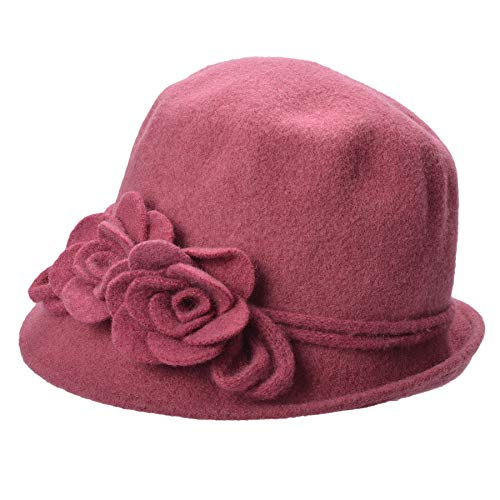 Cloche Soft Lawliet Collapsible Pink Hat Bucket Wool Dark Knit Womens Retro A466 Flower qtYWnat