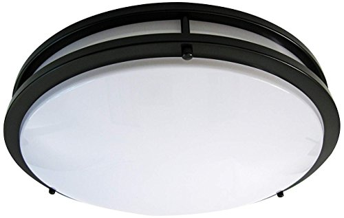 LB72124 LED Flush Mount Ceiling Light, 16-Inch, Oil Rubbed Bronze, 23W (180W equivalent) 1610 Lumens 3000K Warm White, ETL & DLC Listed, ENERGY STAR, Dimmable ()