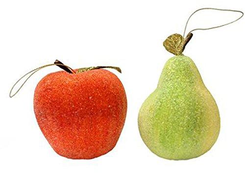 Renaissance 2000 Beaded Fruit Ornaments, Green/Red (Fruit Christmas Ornament)