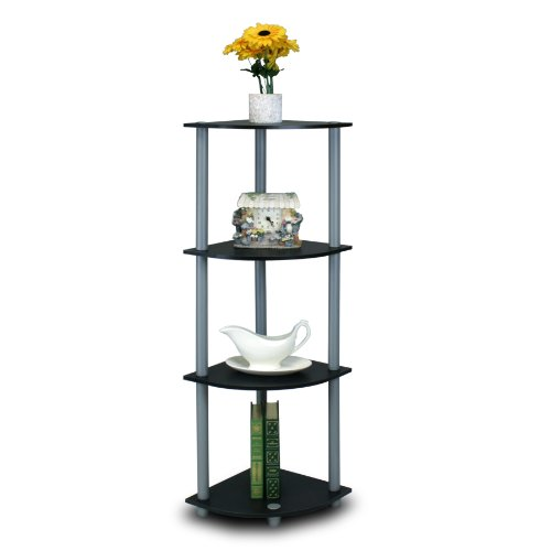 FURINNO 4-Tier Corner Display Rack Bookcase Shelving Unit, Black/Grey