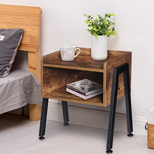 Kingso Nightstand Side Table End Table Stackable Bedside Table Record Player Stand with Storage for Bedrooms, Living…