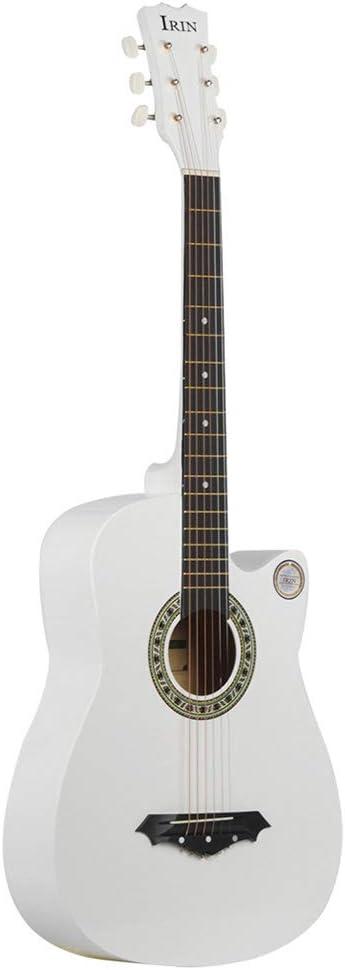 BLKykll Guitarra Acústica Guitarra Acústica De 38 Pulgadas Guitarra Acústica Blanca,Ideal para Principiantes,La Forma Ideal De Aprender A Hacer Regalos Musicales.
