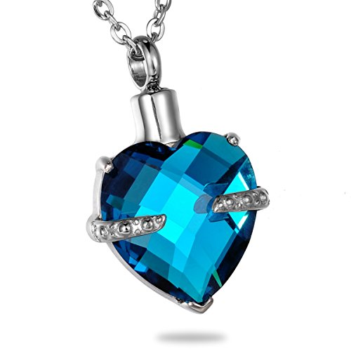 HooAMI Heart Urn Necklace Cremation Jewelry for Ashes Blue Topaz Birthstone Crystal Pendant -