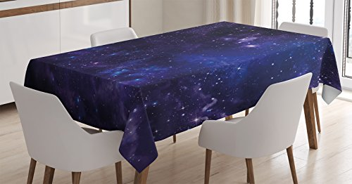 Ambesonne Galaxy Tablecloth, Celestial Stars in Night Sky Stardust with in Clouds Magical Fantasy World of Space, Dining Room Kitchen Rectangular Table Cover, 52 X 70 Inches, Navy Blue ()