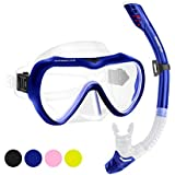 2019 Snorkel Set for Women and Men, Anti-Fog Tempered Glass Snorkel Mask for Snorkeling, Swimming and Scuba Diving, Anti Leak Dry Top Snorkel Gear Panoramic Silicone Goggle No Leak