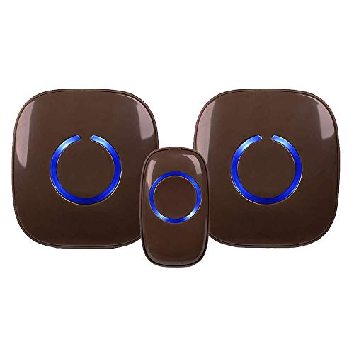 SadoTech Model CXR Wireless Doorbell with 1 Remote Button and 2 Plugin Receivers Operating at over 1000-feet Range with Over 50 Chimes, No Batteries Required for Receivers, (Brown)