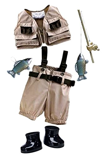 Build A Bear Fisherman 6pc. Outfit Vest Pants Boots Fishing Pole Fish Teddy Stuffed Animal Size Set - Fish Teddy Bear