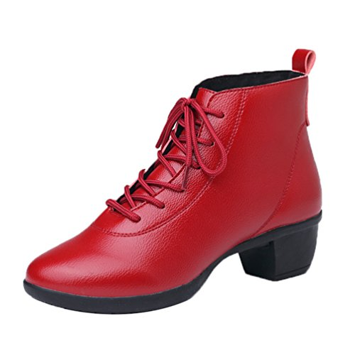 YouPue Damen Herbst PU Leder Square Niedrig Verfolgte Tanzschuhe Lace-up Modernen Jazz Dance Schuhe Solide Farbe Rot Plus Samt