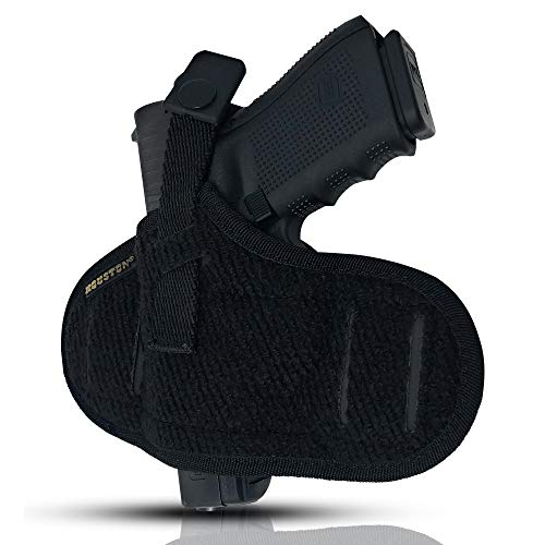 Tactical Pancake Gun Holster Houston - Nylon Concealed Carry Soft Material | Suede Interior for Maximum Protection | Outside Belt Slide | Ambidextrous Fit: Glock 19 23 32 26 27 33 30 | M&P Shield, XDs