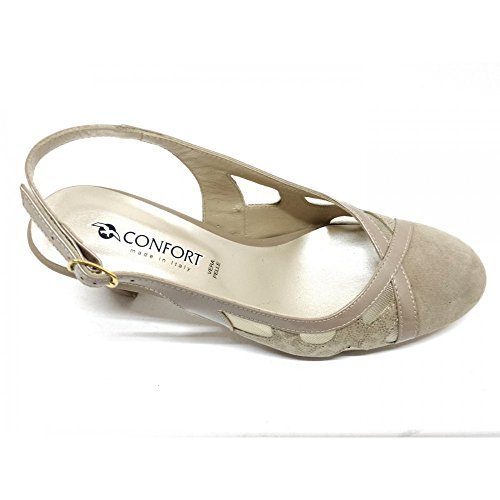 Camoscio Donna Decolletè Confort Beige Champagne Tacco Vero 1390 sandali 7 XafqqPw