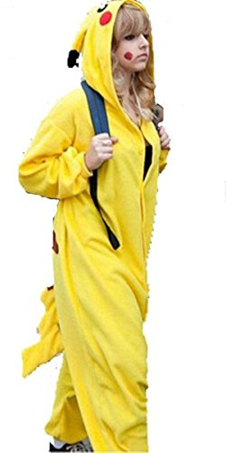 [WOWcucos Adult Unisex Animal Kigurumi Cosplay Costume Pajamas Onesies,Pikachu XL] (Pictures Of Pikachu Costumes)