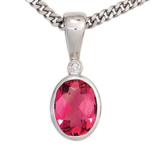 Pendentif tourmaline rose brillant & ovale diamant or blanc 585 pour femme