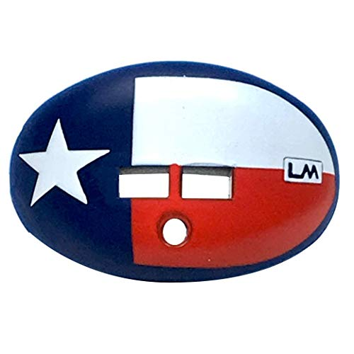 LOUDMOUTHGUARDS Football Mouth Guard - Pacifier Lip Protector Mouthpiece for Youth and Adults - Texas Flag Custom Design - Multiple Colors - Top and Bottom Teeth Protection - Great Air Flow