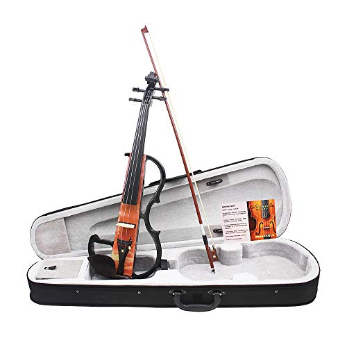 - Violin Full Size 4/4 Vintage Solid Wood Electronic Silent Violin With Bow Ebony Fittings Carrying Case Audio Cable Headphone Shoulder Rest Rosin Extra Strings Kids Musical Instrument Gifts for Beginne