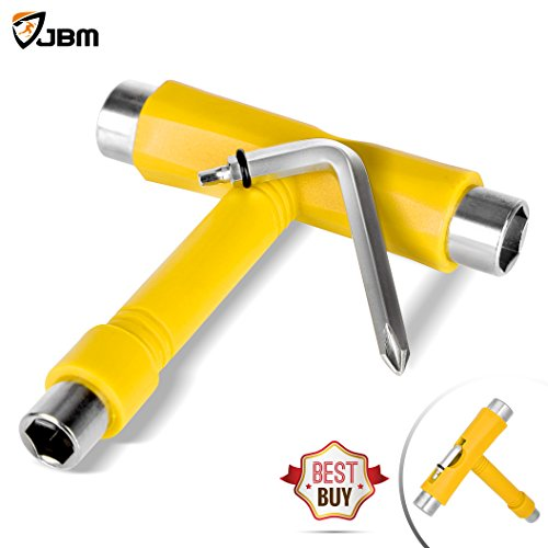 JBM Skate Tool All in One (4 Colors) Multi Function Skateboard T Tool Accessory with T type Allen Key and L type Phillips Head Wrench Screwdriver (Yellow)