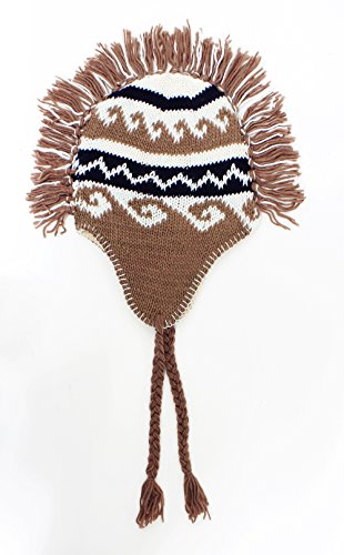 LL Kids Lined Winter Mohawk Beanie Fringe Tassels Cool Brown Tribal