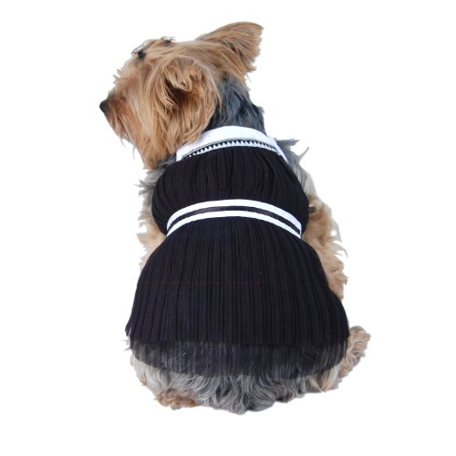 Roman Greek Style Pullover Pleated Layered Tulle Pet Dog Dress (Black, 2X-Small) (FOR SMALL DOGS)