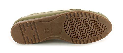 Damen/Damen-grün Leder Freizeitschuhe Mit Ausgeschnittenes Detail - Avacado - UK GRÖßEN 3-8