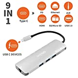 MKDGO 9 in 1 USB C Hub Multiport Adapter with 4K HDMI 1000M RJ45 3xUSB 3.0 3.5mm Audio/Mic Jack MicroSD/SD Card Slot Type C Power Delivery Charging Port for Macbook2018 Google Chromebook - Silver