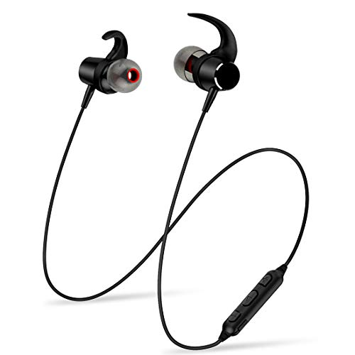Bluetooth Earphones, Wireless Neckband Magnetic Earbuds Headphones, Stereo in Ear Headset Sports Running Workout (IPX4 Waterproof, 5 Hours Playtime, CVC 6.0 Noise Cancelling Microphone)- Black